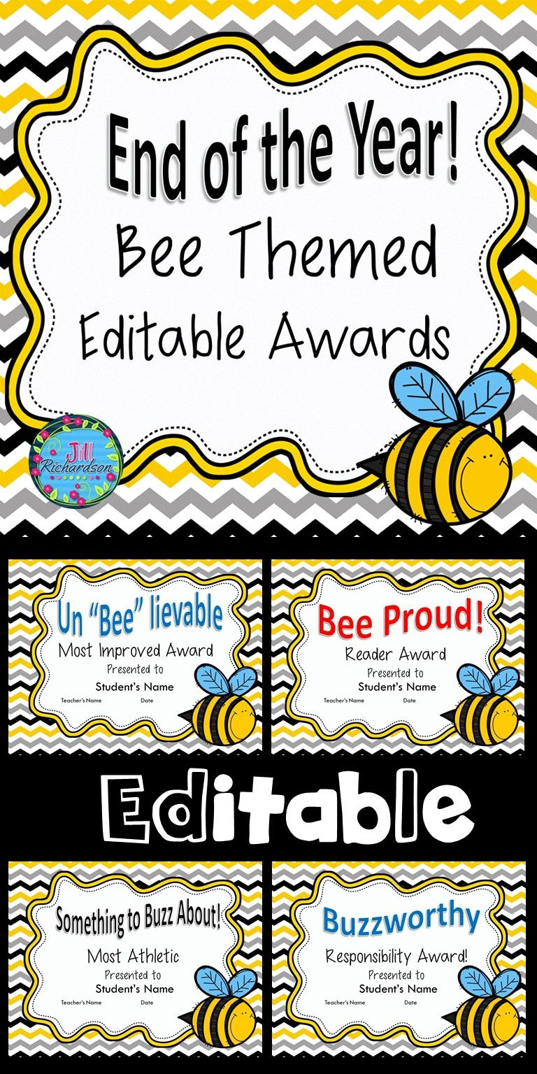 end of year awards editable bee themed may elementary pinterest