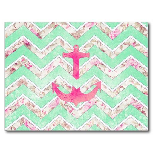 Pink Nautical Anchor Teal Floral Chevron Pattern Postcard | Zazzle.com