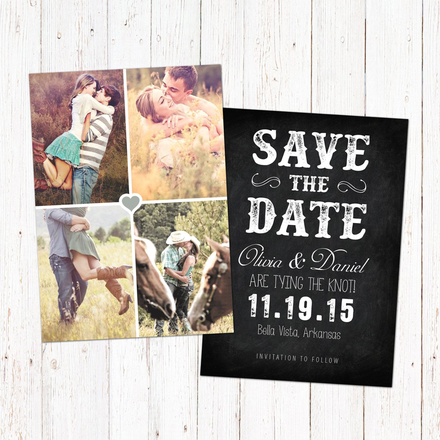 Save The Date template card. Digital engagement announcement design ...