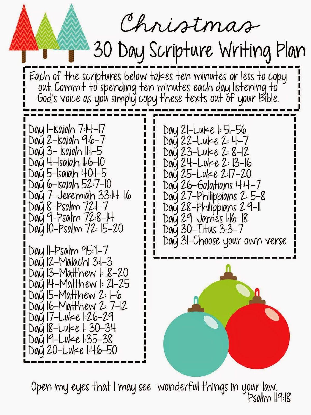 Sweet Blessings: Christmas Scripture Writing Plan FREEBIE ...