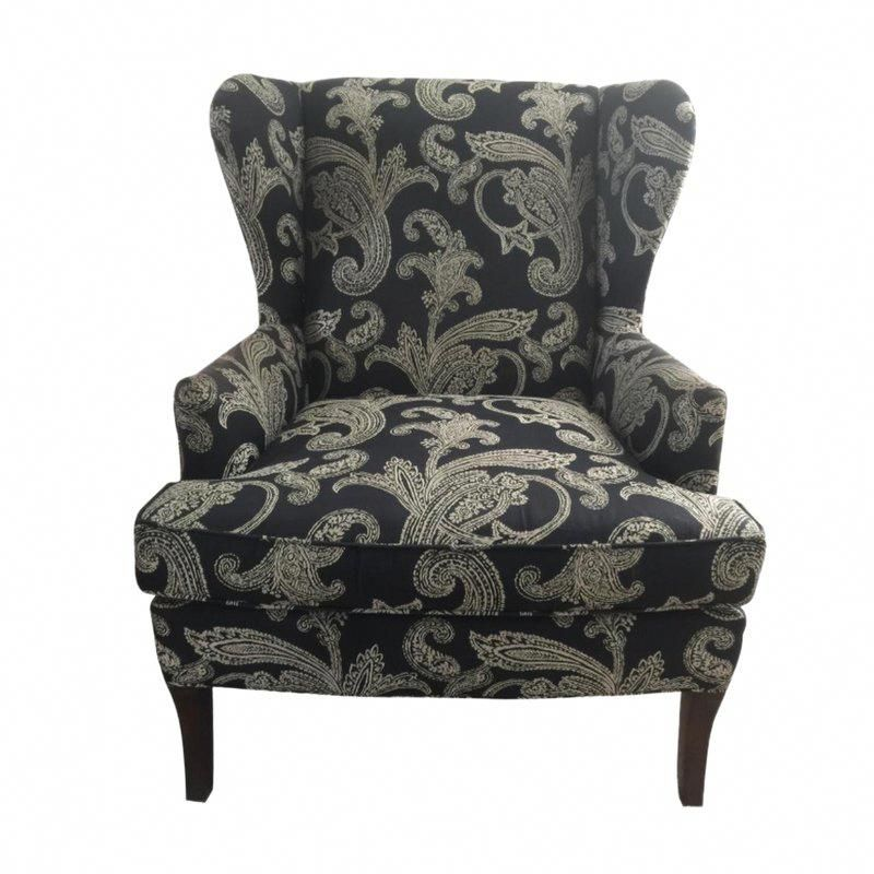 Best Kravet Black And White Paisley Fabric Upholstered Wingback 640 x 480