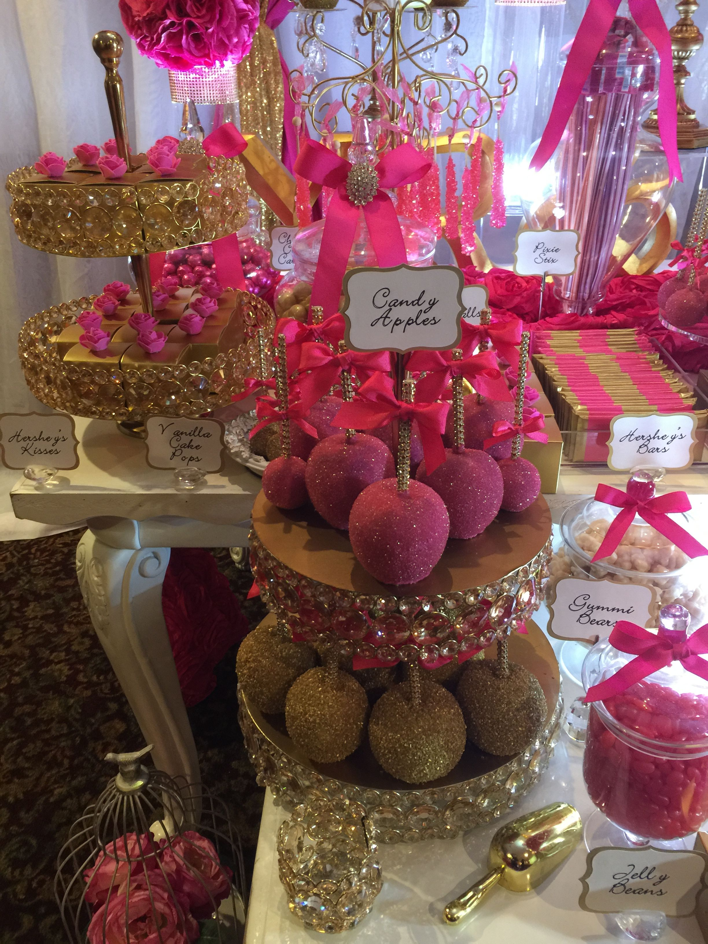 Deco Rose Fushia Salon fuschia pink and gold wedding sweets table with chocolate