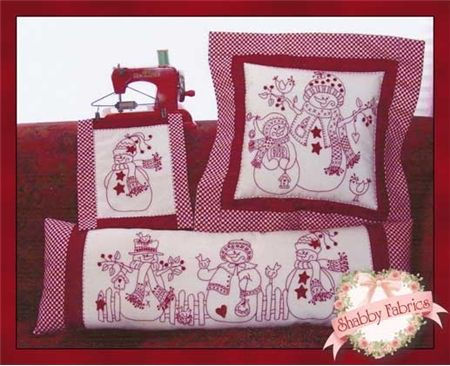 """Redwork Snow People: Watch these great snow people come to life in your hands as you embroider each project!  Pattern includes instructions for three projects: Draft Dodger (10"""" x 28""""), Large Pillow (17"""" x 17""""), and Little Hanging (8"""" x 10"""").  Add the .005 Red Micron pen below to mark your stitch lines."""