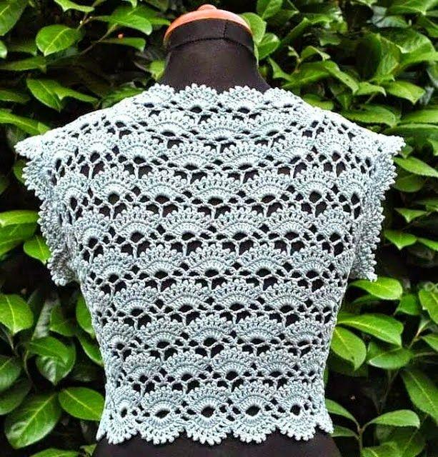 Patron para tejer punto abanico al crochet y modelado en bolero de ...