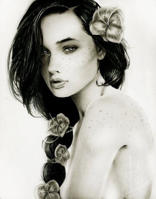 beautiful face drawing | awn, cabelo, desenho, draw, face - image #421313 on Favim.com