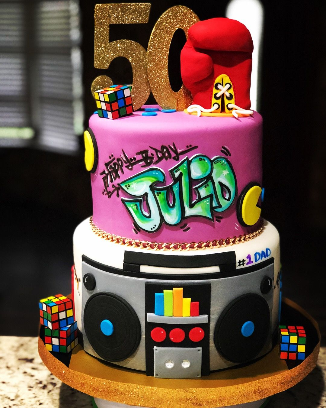 Awe Inspiring 80S Theme Birthday Cake With Rocky Glove And Boom Box With Images Funny Birthday Cards Online Barepcheapnameinfo