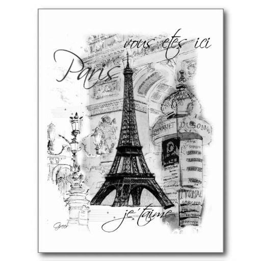 Shop Paris Eiffel Tower Black White Collage Scene Canvas Print Created By LapapeteriedeParis