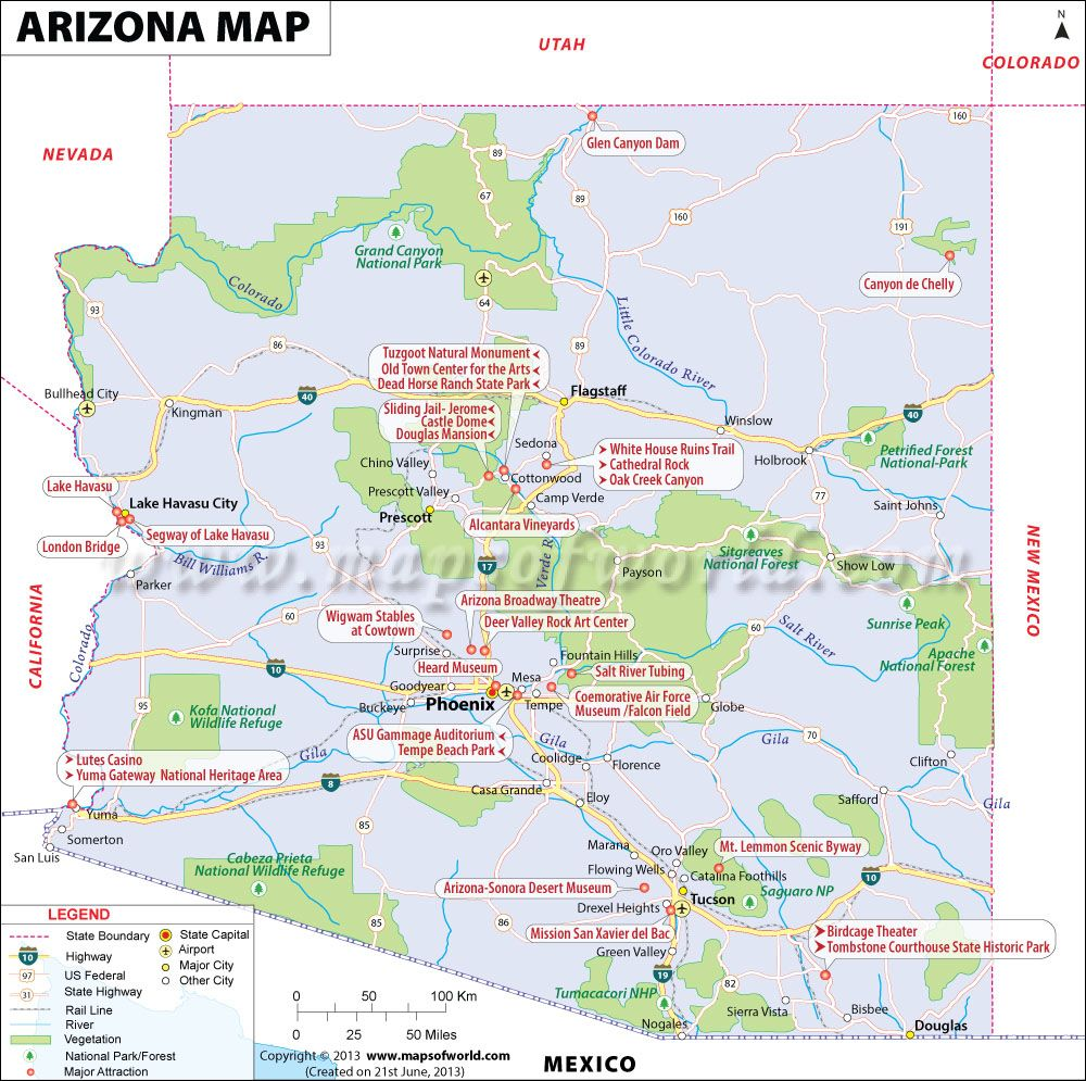 Arizona Map for free download and use The map of Arizona known
