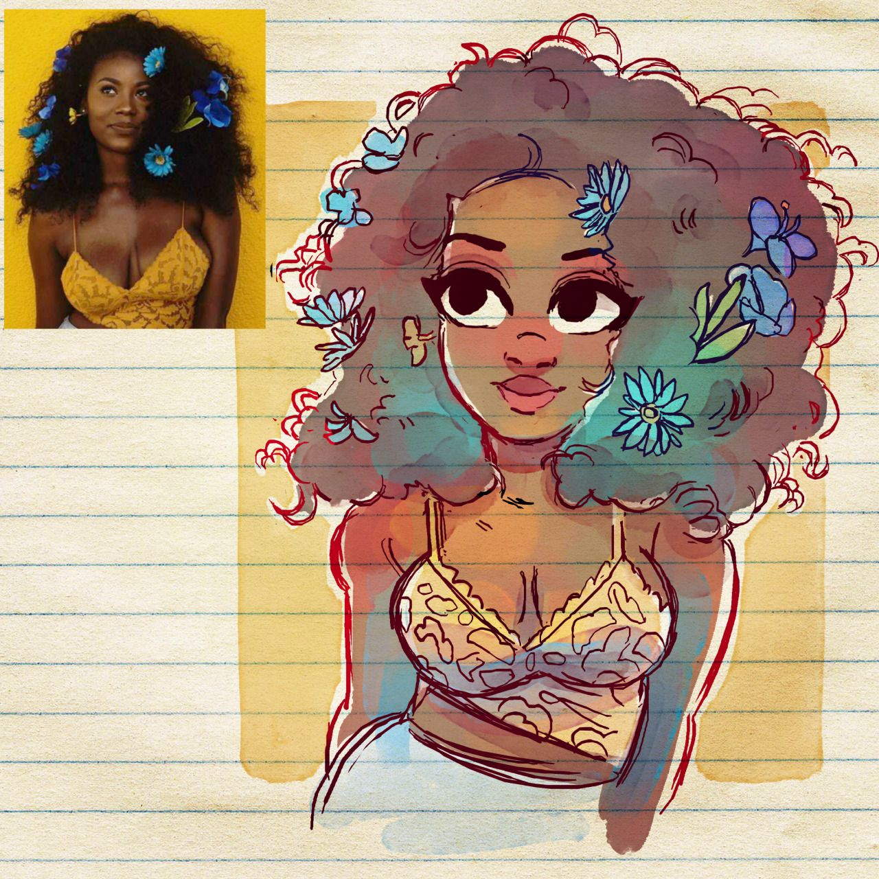 Arte Manga Here Blue Flowers Brushes Here Beautiful Girl Arte Arte