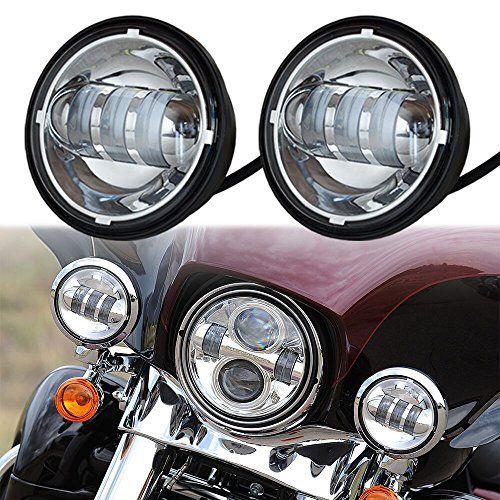 Harley 7 Chrome LED Headlight Halo Headlamp 2x 4-1//2 Chrome LED Auxiliary Spot Fog Passing Light Lamp For Harley Motorcycle