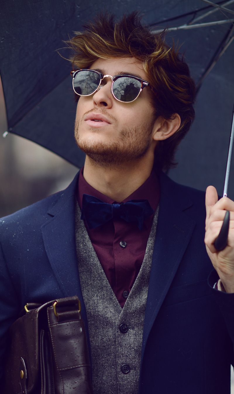 0aa215c9996d Blue, Grey, Deep Purple - a palette of colors that work well together in  this gentlemen s ensemble. Vintage style sunglasses nice touch.