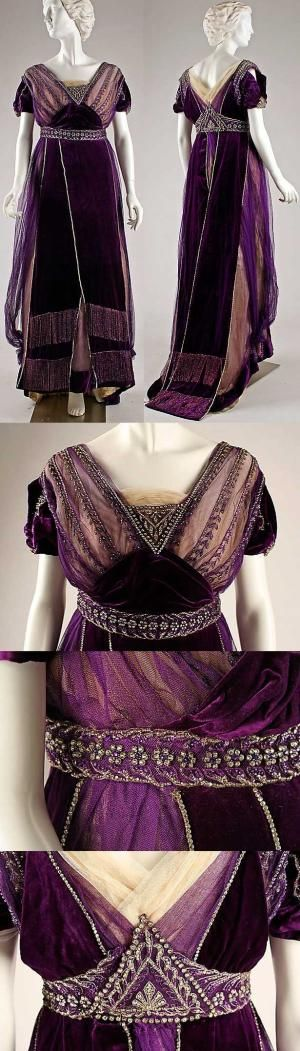 Evening dress, House of Worth, ca. 1910. Silk, cotton, metallic threads, glass. by nikki #edwardianperiod