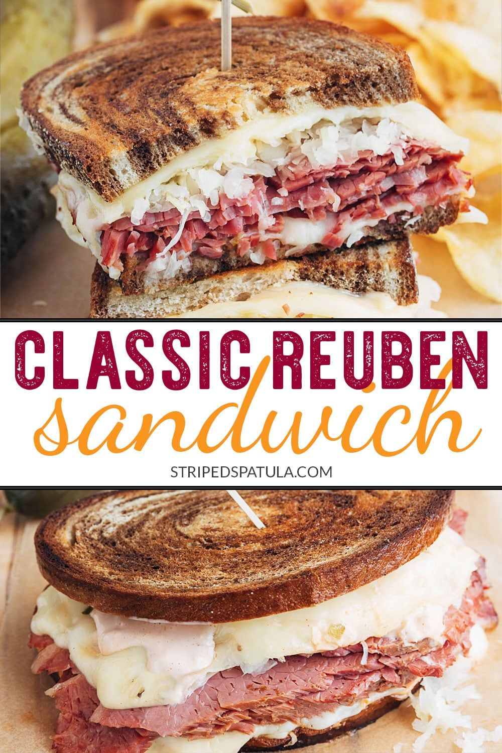 Reuben Sandwich Recipe on Marble Rye | Striped Spatula #sandwichrecipes