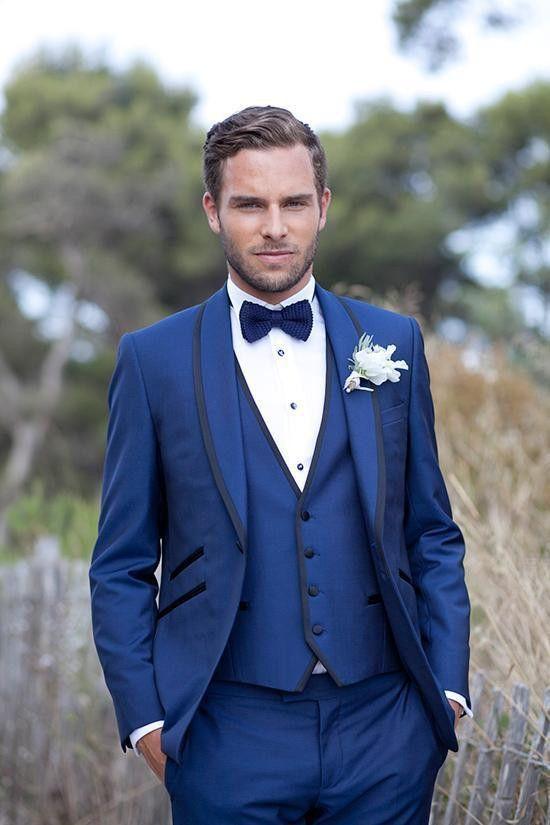 Royal Blue Slim Fit Men Suits One Button Groom Tuxedos Mens ...