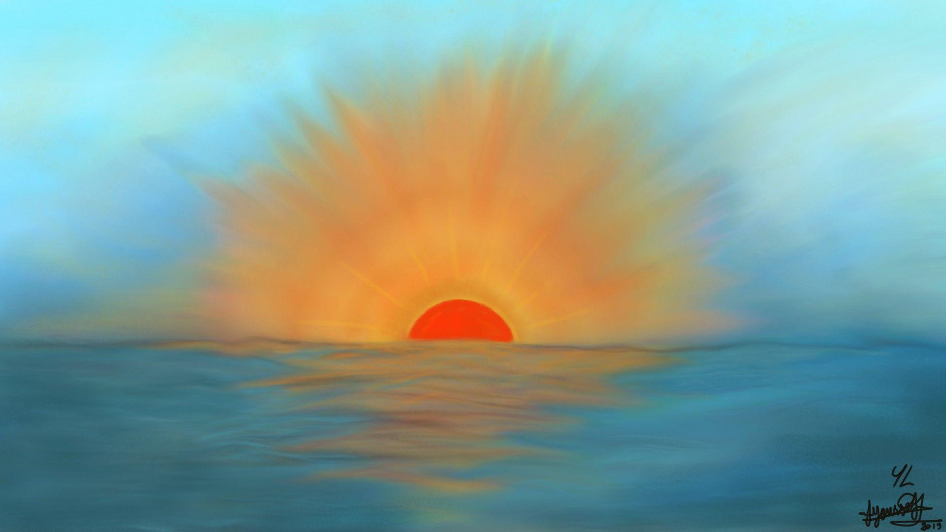 الشمس في الغروب على البحر Celestial Sunset Outdoor