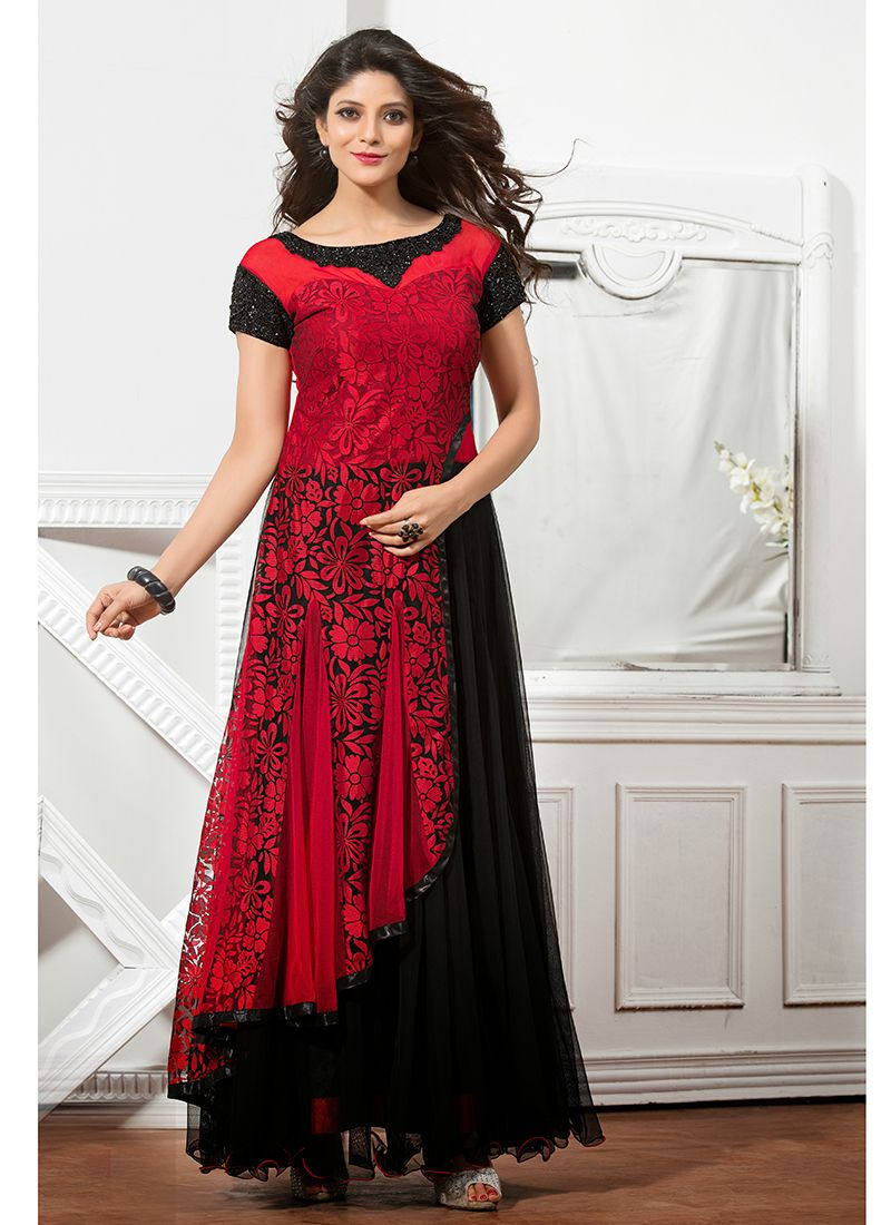 a42c2e4e5fb Red Black Brasso Net PartyWear Designer gown.