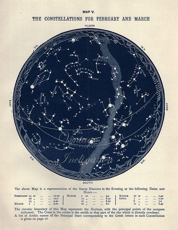 1887 antique astronomy star atlas map v february march original
