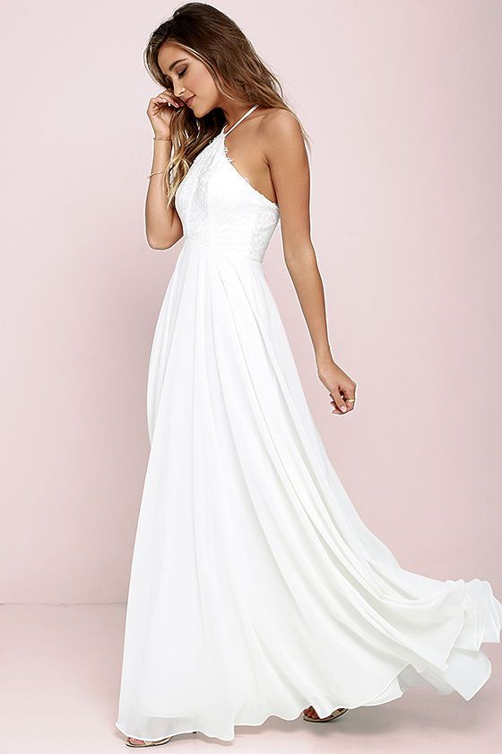 849c1598ce9 Lulus White Halter Maxi Dress    Follow us on Facebook   Instagram    thebohemianwedding    wedding  bridesmaid