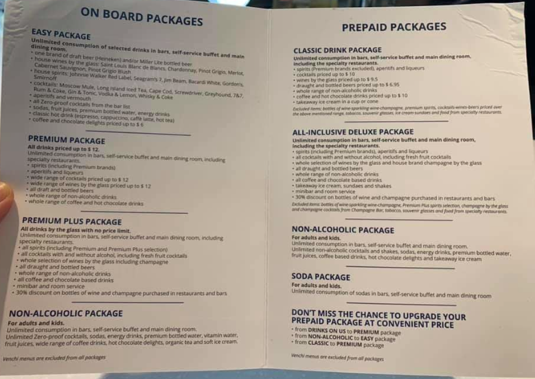 What drinks package IS included in YC? - Page 4 - MSC ...