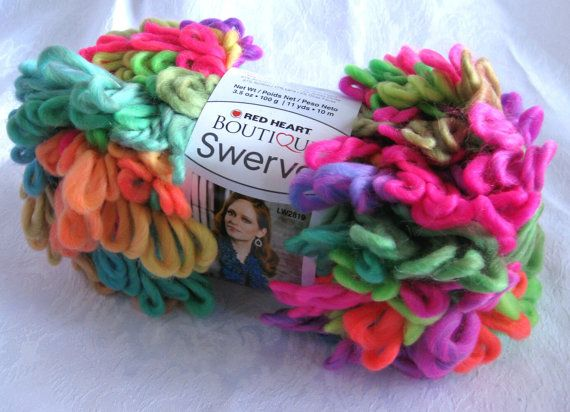 Red Heart Swerve yarn, DAZZLE, super bulky loopy yarn, rainbow of ...