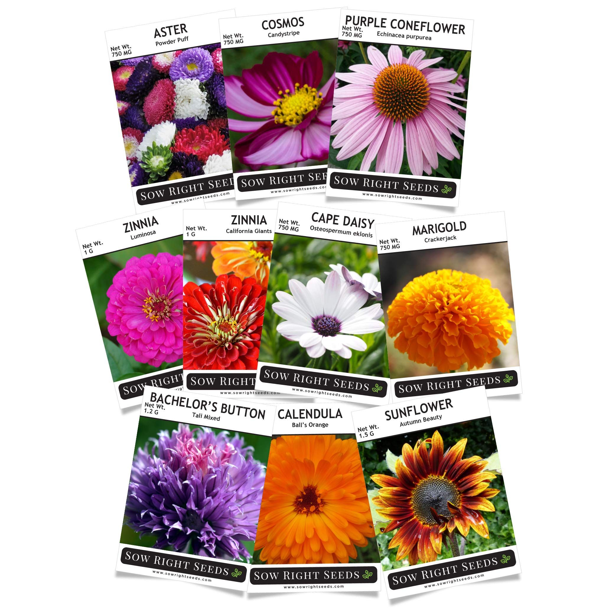 Sow Right Seeds Flower Seed Garden Collection Sunflower Marigold Zinnia Cosmos Daisy Calendula Coneflower Bachelor Zinnias Flower Seeds Garden Gifts