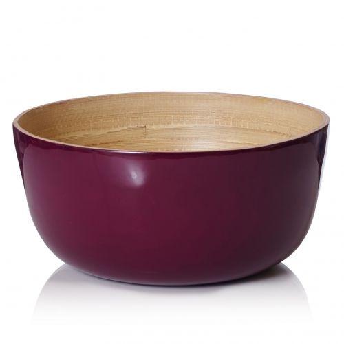 Bamboo Gloss Lacquer Bowl – L / Aubergine