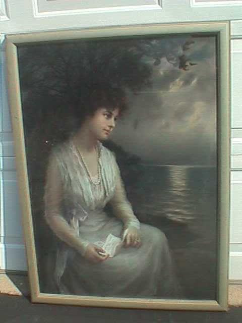 ZULA  KENYON ORIGINAL PASTEL PAINTING -LADY HOLDING LETTER- GERLACH BARKLOW ART