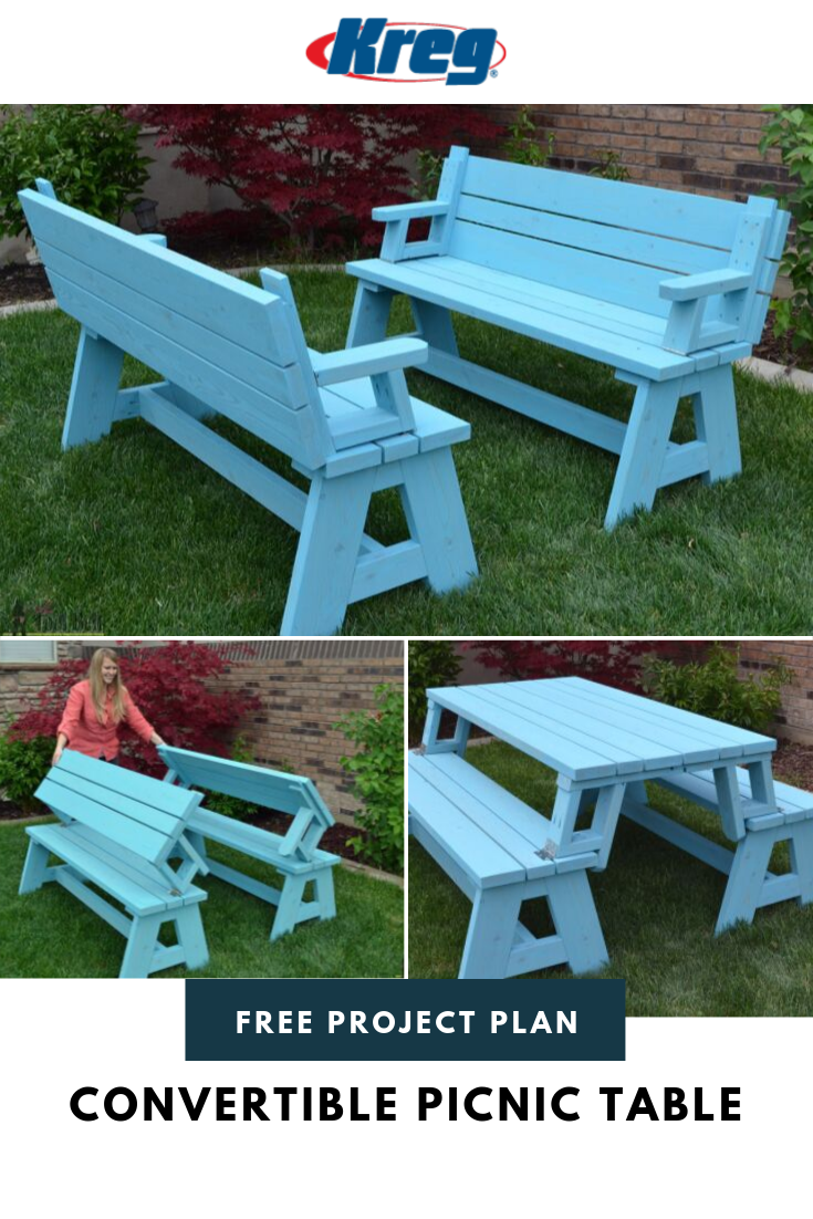 Build A Convertible Picnic Table And Bench Picnic Table Folding Picnic Table Diy Picnic Table