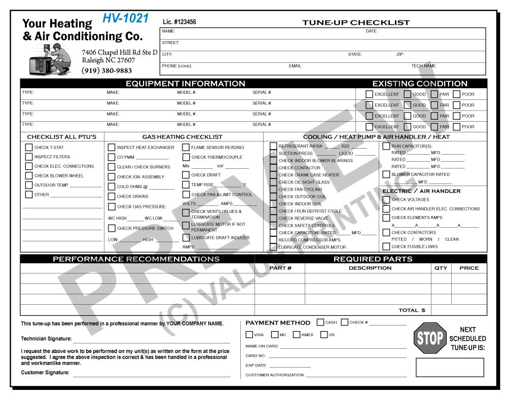 Hv 1021 Hvac Tune Up Work Order Checklist Value Printing Hvac