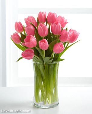 Pink Tulips In Vase Flower Pink Flowers Vase Tulips Beautiful Flowers Flower Pictures Tulips Arrangement Tulips In Vase Tulip Bouquet