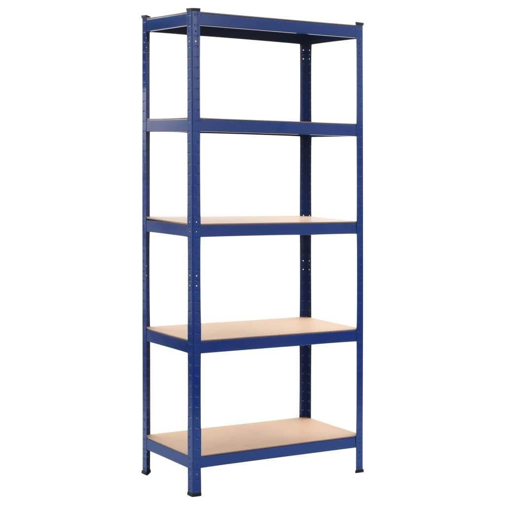 Etagere De Rangement Bleu 80x40x180 Cm Acier Et Mdf Etagere Rangement Idees Etageres Rayonnage