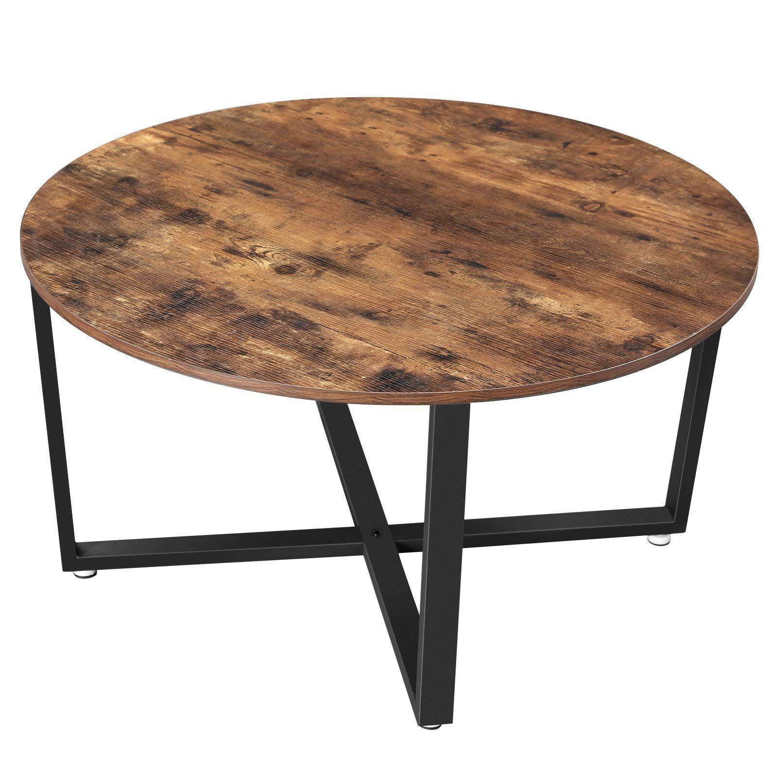 Vasagle Industrial Cocktail Durable Assemble Coffee Table Round Coffee Table Round Wood Coffee Table [ 1600 x 1600 Pixel ]