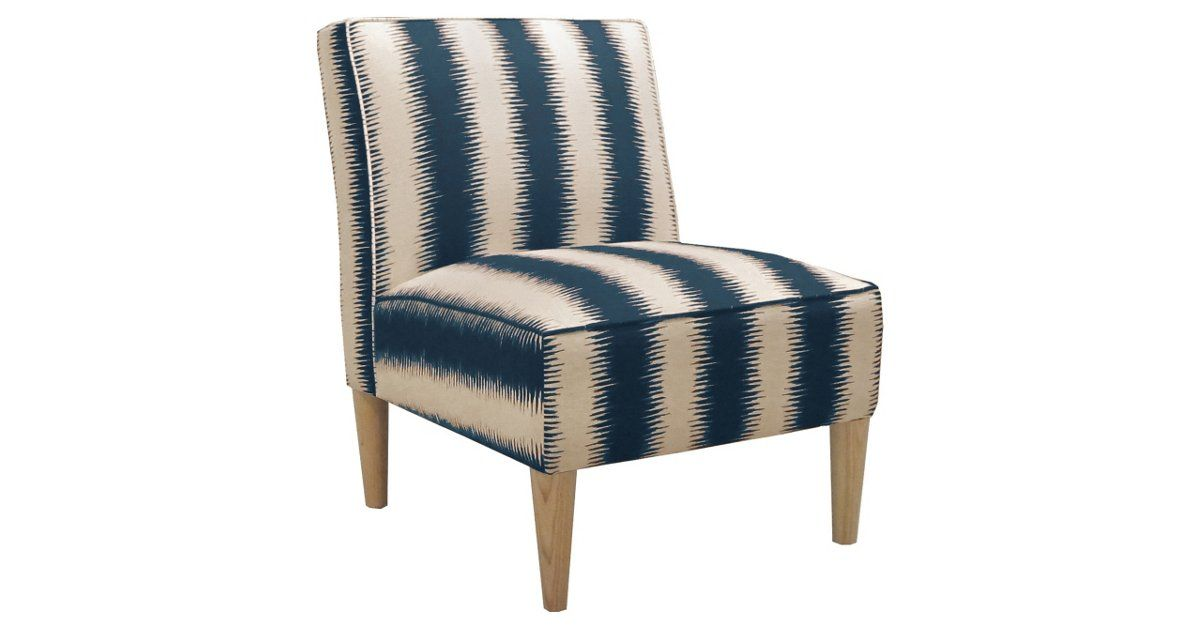 Best Finnegan Armless Chair Blue Cream Accent Chairs Chair 400 x 300
