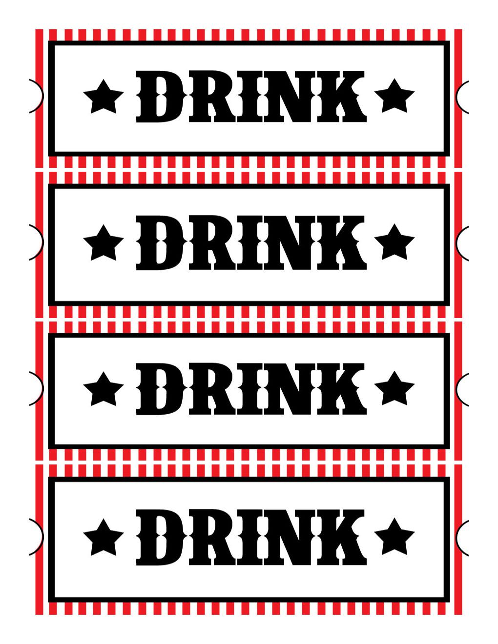 printable drink tickets wedding in 2018 pinterest movie night