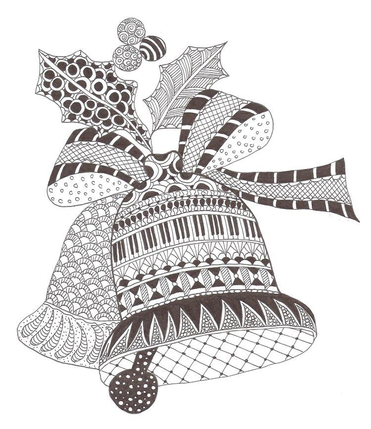 Zentangle Weihnachtsmotive Vorlagen GLocken Weihnachten #deko #ideen ...