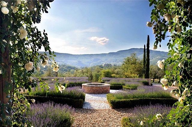 Beautiful Garden With Fragrant Lavender Italian Villa Exterior Design