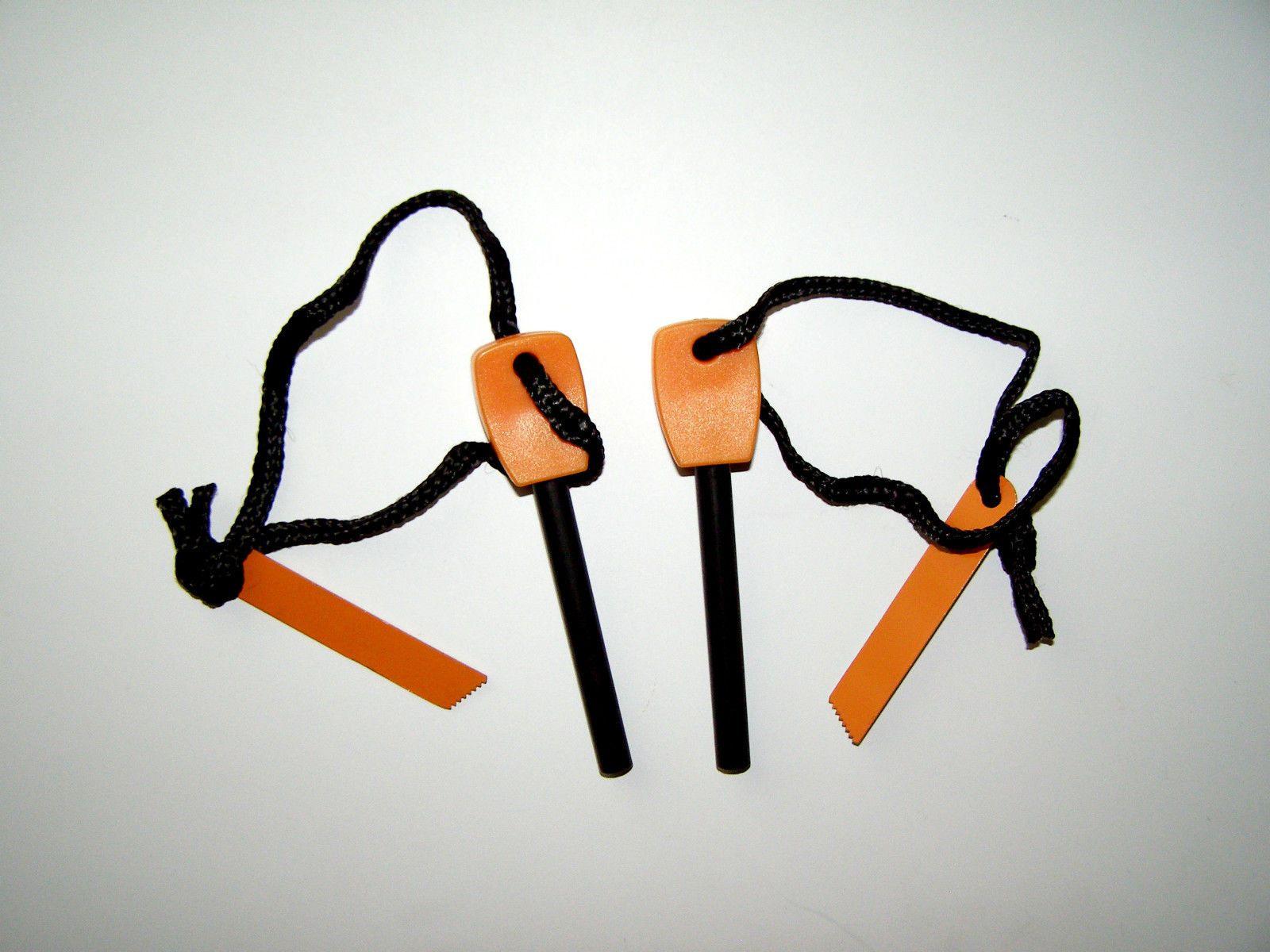 2 NEW Large Outdoor Survival Flint Steel Magnesium Rod Fire Striker Starter Kits