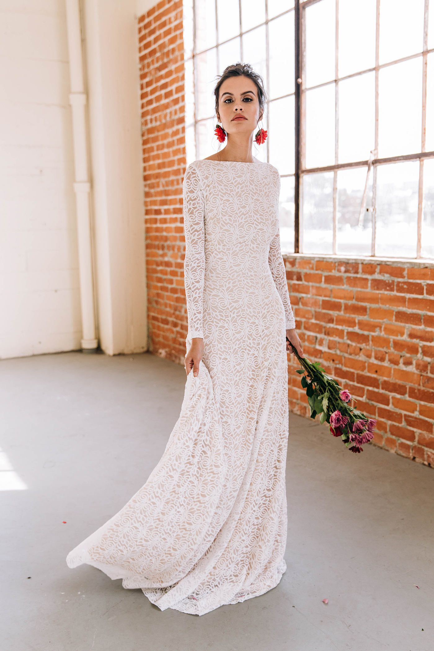 Long sleeve wedding dress modern wedding dress minimalist wedding