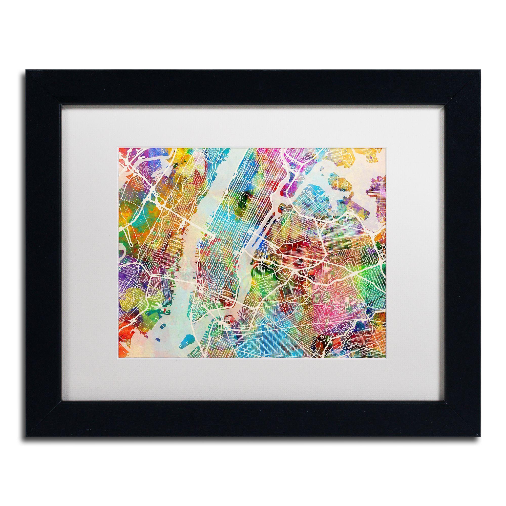 Michael tompsett unew york city street mapu white matte framed