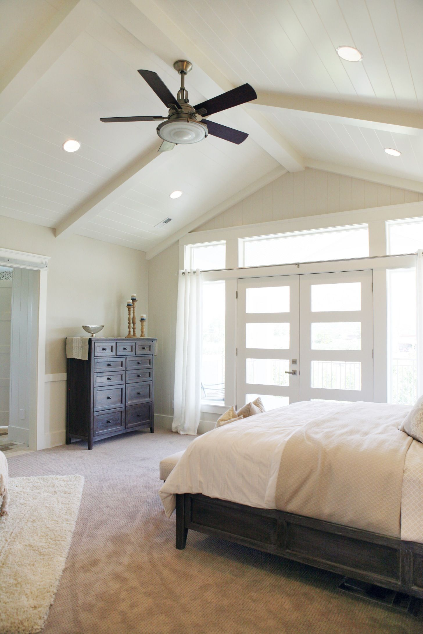 Master bedroom high ceiling bright windows and a fan space pinterest ceiling vaulting Master bedroom with sloped ceiling