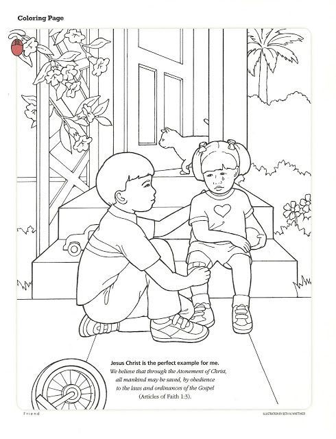 Helping others coloring page | Sunday school | Lds primary lessons ...