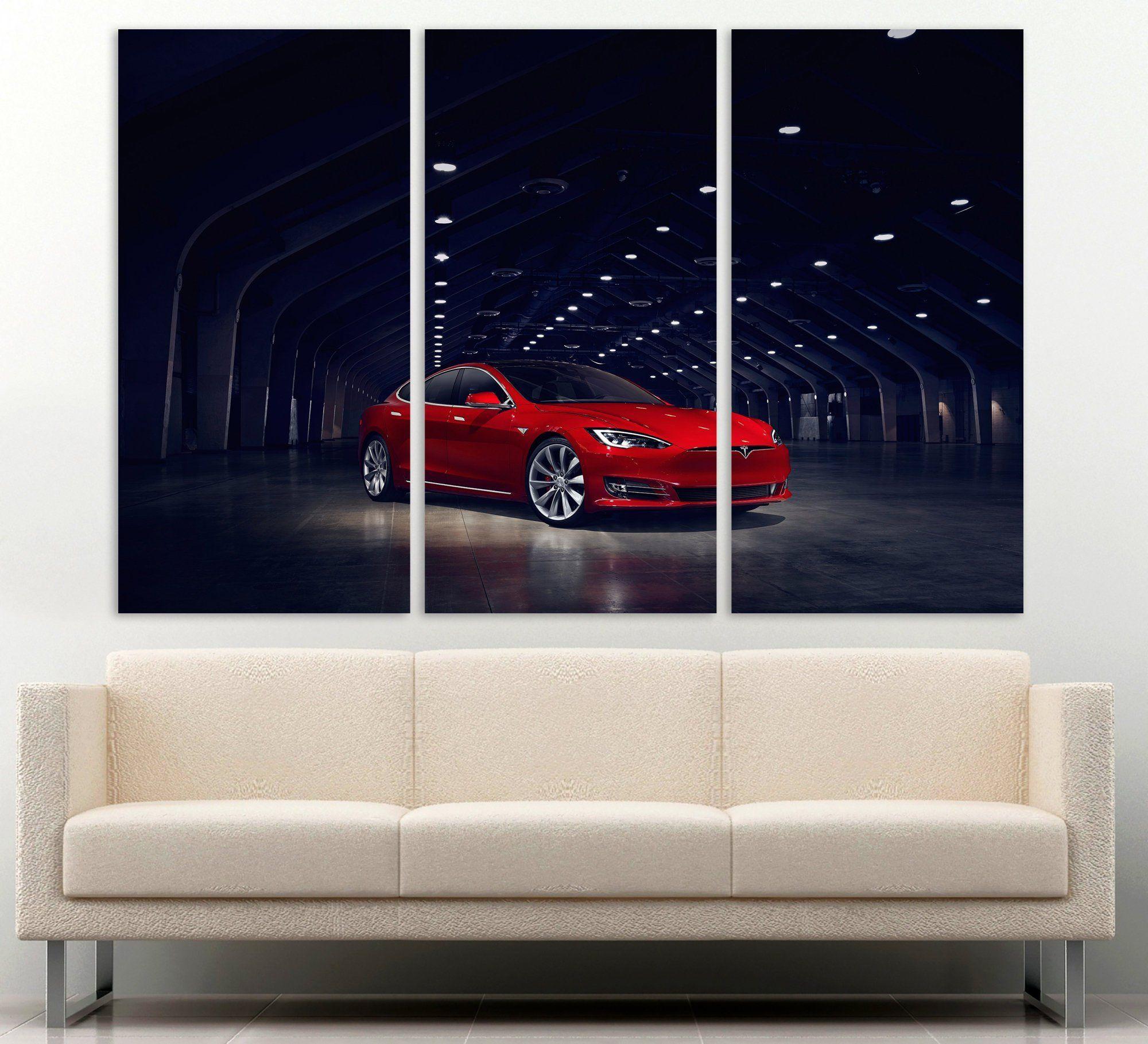 Red Tesla Model S In Tunnel Car Art Triptych Canvas Wall Art Car