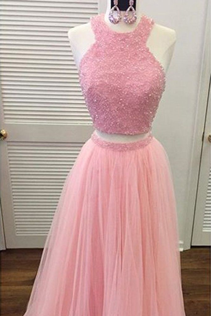 Pink tulle two pieces sequins beading A-line long prom ,evening ...