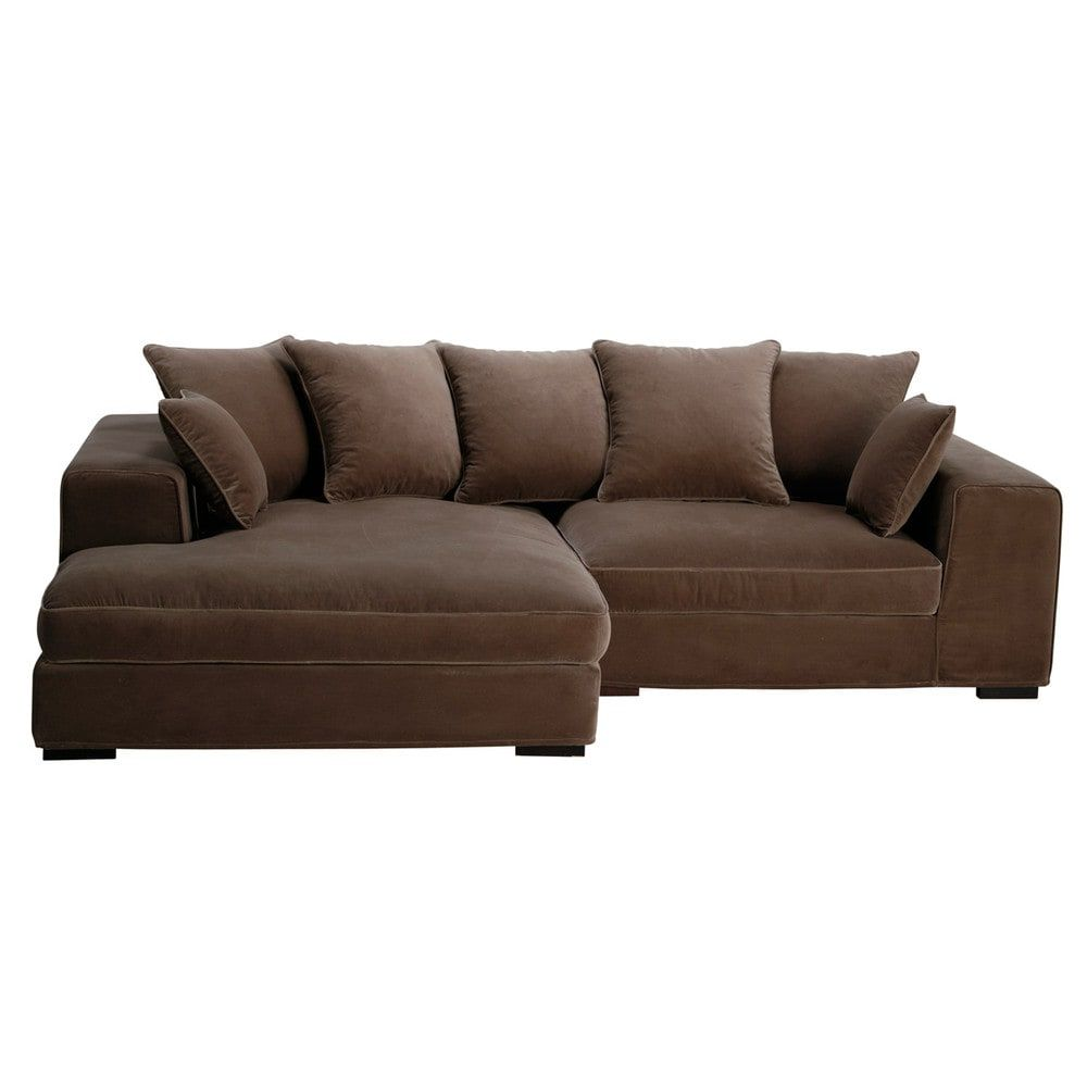 Ecksofa 4 Sitzer Aus Samt Taupe Sofa Velvet Corner Sofa Family Sofa