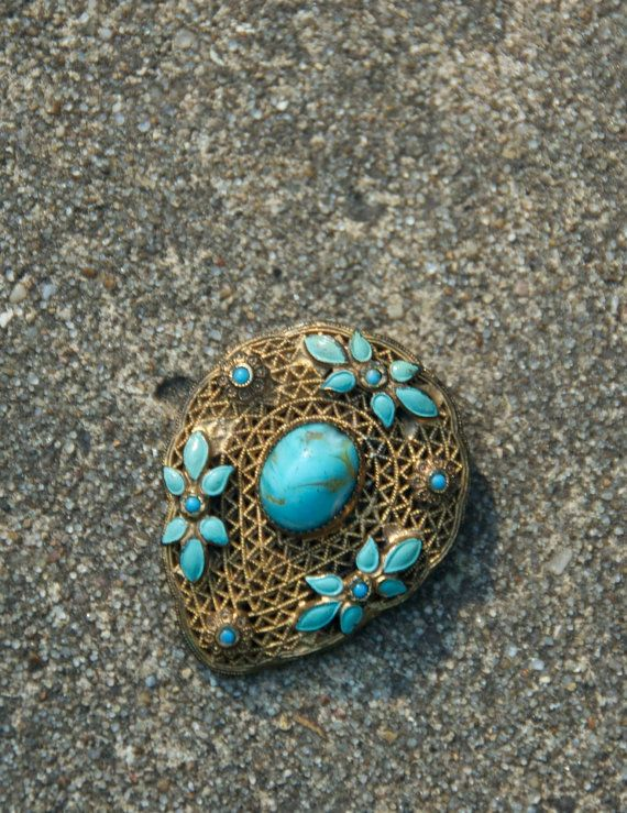 1920s Deco Dress Clip with Genuine Round Turquoise stone by SkeletonKeyVintage, $30.00