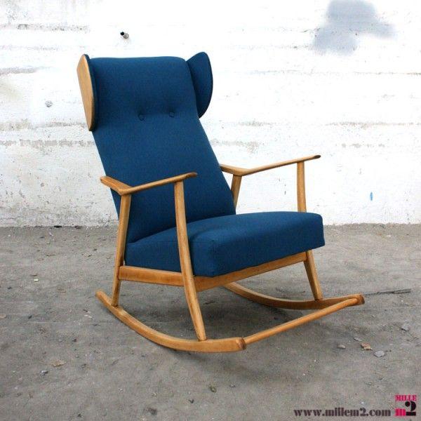 fauteuil a bascule vintage bleu