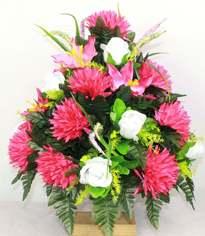 Xl Fall Mixture Artificial Silk Flower Cemetery Bouquet Vase Arrangement