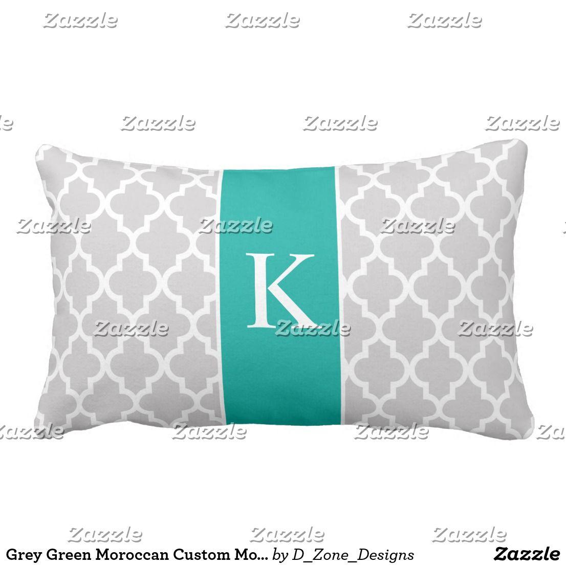Grey green moroccan custom monogram lumbar pillow nicelooking
