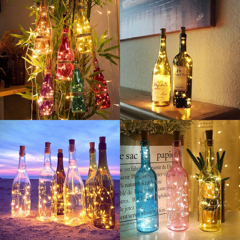 Aluan Wine Bottle Lights 12 Led Cork Bottle Lights Waterproof Battery Operated Wine Cork Lights With Screwd Bottle Lights Lighted Wine Bottles Led Bottle Light