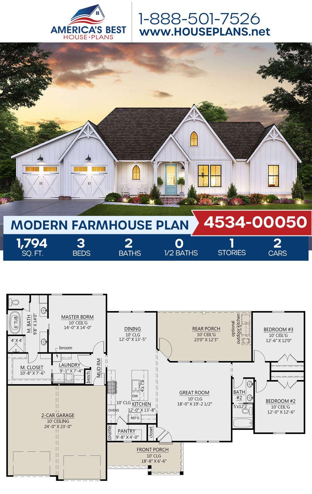 House Plan 4534 00050 Modern Farmhouse Plan 1 794 Square Feet 3 Bedrooms 2 Bathrooms Modern Farmhouse Plans Farmhouse Plans House Plans